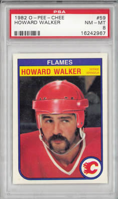 1982 O-Pee-Chee #59 Howard Walker Calgary Flames PSA 8