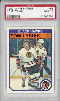 1982 O-Pee-Chee #68 Tom Lysiak Chicago Black Hawks PSA 9
