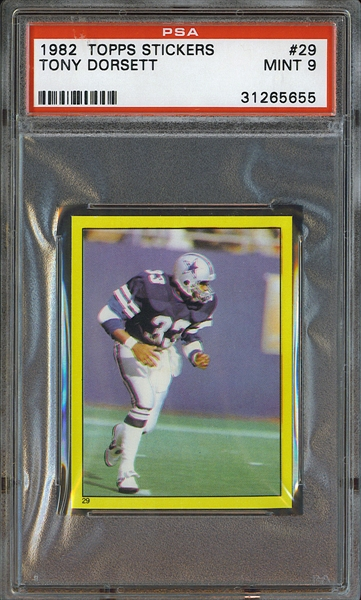 1982 Topps Stickers #29 TONY DORSETT Dallas Cowboys  PSA 9