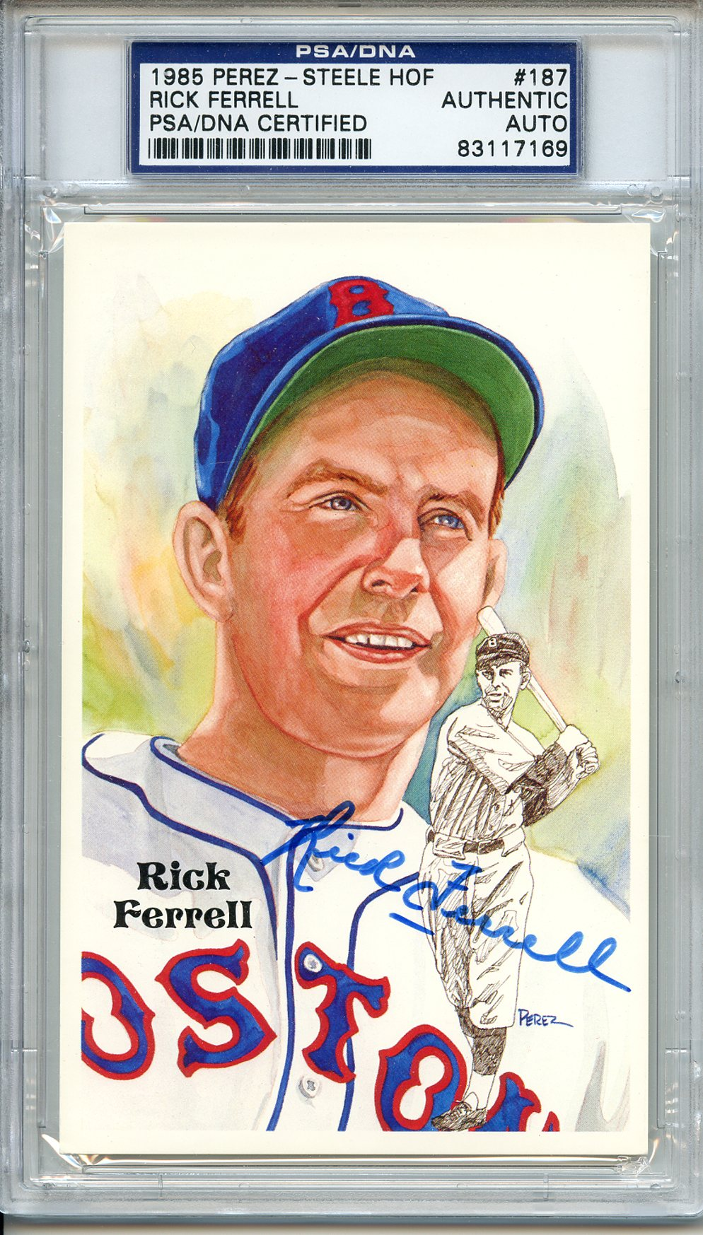 1985 Rick Ferrell Signed HOF Perez-steele Browns Red Sox Senator