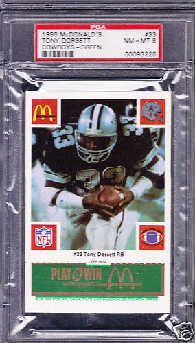 1986 McDonalds TONY DORSETT Dallas Cowboys Green PSA 8