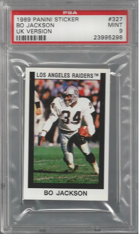 1989 Panini Sticker UK Version Rare Bo Jackson Raiders PSA 9 Pop