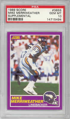 1989 Score Supplemental #385S Mike Merriweather Vikings PSA 10